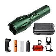 U'King LED손전등 LED 2000 lm 5 모드 Cree XM-L T6 배터리, 충전기 포함 줌이 가능한 조절가능한 초점 컴팩트 사이즈 밝기조절가능 캠핑/등산/동굴탐험 일상용 멀티기능 그린