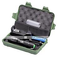 U'King LED懐中電灯 フラッシュライトキット LED 2000 lm 5 モード Cree XM-L T6 焦点調整可 小型 ズーム可能 調光可能 のために キャンプ/ハイキング/ケイビング 日常使用 多機能 1 x 18650電池 ブラック