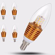 7W E14 LED gyertyaizzók C35 35LED SMD 2835 650 lm Meleg fehér Dekoratív AC 220-240 V 5 db.