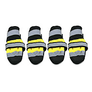 Hunde Schuhe und Stiefel Socken Modisch Wasserdicht warm halten Farbblock Gelb Rot Nylon PU Leder