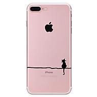 Недорогие Кейсы для iPhone 8 Plus-Кейс для Назначение Apple iPhone X / iPhone 8 / Кейс для iPhone 5 С узором Кейс на заднюю панель Кот Мягкий ТПУ для iPhone X / iPhone 8