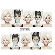 abordables Adhesivos para Uñas-5pcs Engomada del arte del clavo Etiqueta de transferencia de agua maquillaje cosmético Dise?o de manicura