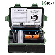 U'King LED Lommelygter LED 2000 lm 3 Modus Cree XM-L T6 med batteri og lader Zoombare Justerbart Fokus Glidesikkert Greb