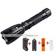 U'King LED taskulamput LED 2000 lm 5 Tila Cree XM-L T6 Akulla ja latureilla Zoomable Säädettävä fokus Ladattava