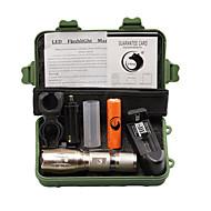 U'King LED Lommelygter Lommelyktsett LED 2000 lm 5 Modus Cree XM-L T6 Justerbart Fokus Klemme Zoombare til Camping/Vandring/Grotte