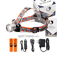 preiswerte Taschenlampen, Laternen & Lichter-U'King Stirnlampen Schweinwerfer 2000 lm 3 Modus LED inklusive Batterien und Ladegeräten Zoomable- einstellbarer Fokus Kompakte Größe