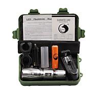 U'King LED손전등 LED 2000 lm 5 모드 Cree XM-L T6 배터리, 충전기 포함 줌이 가능한 조절가능한 초점 클립 캠핑/등산/동굴탐험 일상용 야외
