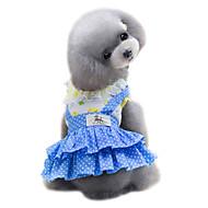 お買い得  -犬 ドレス 犬用ウェア 水玉 / 波点 イエロー / ブルー コットン コスチューム ペット用 夏 女性用 ファッション