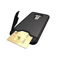 お買い得  携帯電話ケース-ケース 用途 Asus カードホルダー 耐衝撃 スタンド付き バックカバー 純色 ハード PC のために Asus ZenFone 3 (ZE552KL)(5.5)