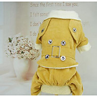 Dog Coat Dog Clothes Warm Casual/Daily Sports Solid Yellow Red Green Costume For Pets