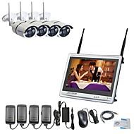 お買い得  -strongshine®4インチh.264ワイヤレスnvrと11インチスクリーン960p防水赤外線ipカメラ監視システムキット