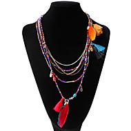 Dámské Náhrdelníky s přívěškem Prohlášení Náhrdelníky dlouhý náhrdelník Peří dámy Jedinečný design Cikánské Cikánský Duhová Světle modrá Tmavě zelená Náhrdelníky Šperky Pro Párty Denní Ležérní