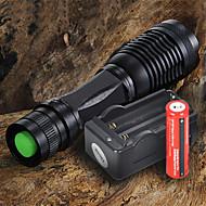 LED-Ficklampor LED 2200 LM 5 Läge Cree XM-L T6 med batteri och laddare Justerbar fokus Camping/Vandring/Grottkrypning Vardagsanvändning