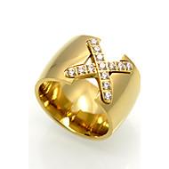 お買い得  -男性用 指輪  -  キュービックジルコニア, チタン鋼 オリジナル, 幾何学図形, ロック 6 / 7 / 8 / 9 ゴールド / シルバー / ローズ 用途 結婚式 パーティー Halloween