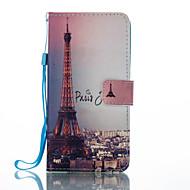 billige -Etui Til Huawei Kortholder Lommebok med stativ Flipp Mønster Heldekkende etui Eiffeltårnet Hard PU Leather til P8 Lite (2017) Mate 9