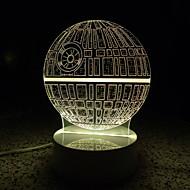 olcso LED éjszakai világítás-AWOO 1 db 3D éjszakai fény Távirányító 7-Color Távirányító Tompítható mobil tápegység Színváltós