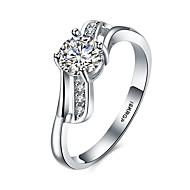 Dame Ring Enkelt design Hjerte Kubisk Zirkonium Sølvplett Rund Form Smykker Til Bryllup Fest Spesiell Leilighet Daglig Avslappet