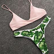 abordables -Femme Fleur Licou Rose Claire Bikinis Maillots de Bain - Fleur Feuille tropicale S M L Rose Claire
