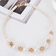 女性用 チョーカー 人造真珠 模造ダイヤモンド 円形 真珠 合金 サークル ゴールド ジュエリー のために パーティー 誕生日 日常 1個