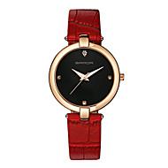 preiswerte -SANDA Damen Modeuhr Armbanduhren für den Alltag Japanisch Quartz Leder Band Bettelarmband Bequem Schwarz Rot