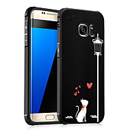 Недорогие Чехлы и кейсы для Galaxy S-Кейс для Назначение SSamsung Galaxy Защита от удара С узором Рельефный Кейс на заднюю панель Кот Мягкий ТПУ для S7 S6