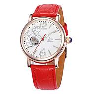 お買い得  機械式腕時計-女性用 ファッションウォッチ 機械式時計 クォーツ レザー バンド 白 レッド パープル