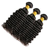 Cabelo Humano Cabelo Indiano Cabelo Humano Ondulado Ondas Médias Extensões de cabelo 1 Peça Preto