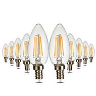 abordables Luces LED en Vela-ywxlight® 10pcs e12 4led 4w bombillas led globo blanco cálido vintage bombilla de filamento led luz de vacaciones bombilla edison ac 110-130 v