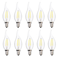 abordables Bombillas Incandescentes-brelong 10 pcs 2w e14 led vela regulable bombilla c35 dc12v blanco / blanco cálido