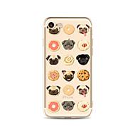 Недорогие Сегодняшнее предложение-Кейс для Назначение Apple iPhone X iPhone 8 Plus Прозрачный С узором Задняя крышка Плитка С собакой Продукты питания Мягкий TPU для