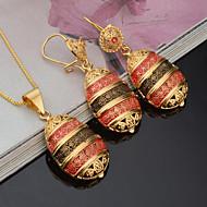 저렴한 -여성용 신부 보석 세트 라인석 패션 Euramerican 파티 이벤트/파티 일상복 도금 골드 오발