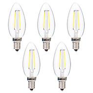 povoljno -BRELONG® 5pcs 2W 200 lm E14 LED filament žarulje C35 2 LED diode COB Zatamnjen Toplo bijelo Bijela AC 220-240 V