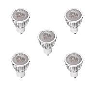 お買い得  LED スポットライト-5個 3W 260-300lm GU10 LEDスポットライト MR16 3 LEDビーズ ハイパワーLED 調光可能 温白色 ホワイト 220-240V