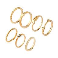 Недорогие $0.99 Модное ювелирное украшение-Жен. манжета кольцо Кольцо Золотой Металлический сплав Стразы Сплав Круглый Круглый дизайн Euramerican Простой стиль День рождения Для