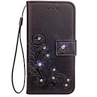 お買い得  携帯電話ケース-ケース 用途 LG G3 LG LG G5 LG G4 カードホルダー ウォレット ラインストーン スタンド付き フリップ エンボス加工 フルボディーケース 純色 フラワー ハード PUレザー のために LG G6