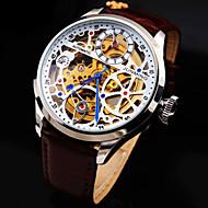 Недорогие junming-Муж. Часы со скелетом Механические часы С автоподзаводом С гравировкой Защита от влаги Натуральная кожа Группа Аналоговый Роскошь Черный Коричневый / Белый