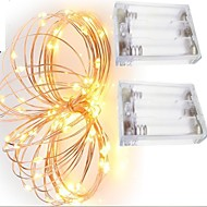 tanie Taśmy świetlne LED-2szt 2m 20led 3aaa 4.5v zasilany z baterii wodoodporna ozdoba drutu miedzianego światła led ciąg na wesele festiwalu