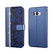 Недорогие Чехлы и кейсы для Galaxy S8 Plus-Кейс для Назначение SSamsung Galaxy S8 Plus / S8 Кошелек / Бумажник для карт / Стразы Чехол Цветы Твердый Кожа PU для S8 Plus / S8 / S7 edge
