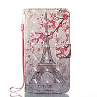 Недорогие Кейсы для iPhone 8 Plus-Кейс для Назначение Apple iPhone X iPhone 8 Бумажник для карт Кошелек со стендом Флип Магнитный С узором Чехол Цветы Эйфелева башня