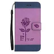 Недорогие Чехлы для телефонов-Кейс для Назначение LG K8 (2017) K10 (2017) Бумажник для карт Кошелек со стендом Флип Рельефный Чехол Цветы Твердый Кожа PU для LG K10