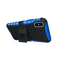 Назначение iPhone X iPhone 8 Plus Чехлы панели Защита от удара со стендом Задняя крышка Кейс для Сплошной цвет броня Твердый Термопластик