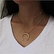 Women's Layered Necklace - Moon Fashion Multi-ways Wear Gold, Silver Necklace Jewelry For Daily, Casual