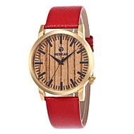 お買い得  -男性用 女性用 ファッションウォッチ 腕時計 ウッド 日本産 クォーツ 木製 本革 バンド チャーム カジュアル レッド