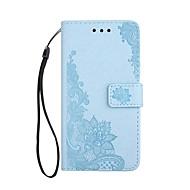 Недорогие Чехлы и кейсы для Galaxy A3(2017)-Кейс для Назначение SSamsung Galaxy A5(2017) A3(2017) Бумажник для карт Кошелек со стендом Флип Магнитный С узором Рельефный Чехол Цветы