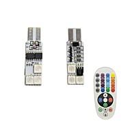 Недорогие Сигнальные огни для авто-1set 1.5w t10 6smd5050 rgb светодиодный фонарик для дистанционного управления dc12v