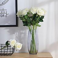 abordables Flores Artificiales-2 Rama Poliéster Rosas Flor de Mesa Flores Artificiales