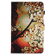 Недорогие Чехлы и кейсы для Galaxy Tab A 9.7-Кейс для Назначение SSamsung Galaxy Вкладка 9,7 Вкладка 8,0 Бумажник для карт со стендом Флип Магнитный С узором Чехол Цветы Твердый Кожа