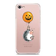 Недорогие Кейсы для iPhone 8 Plus-Кейс для Назначение Apple iPhone X iPhone 8 iPhone 8 Plus Ультратонкий Прозрачный С узором Кейс на заднюю панель Halloween Животное Мягкий