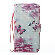 Кейс для Назначение SSamsung Galaxy Кошелек Бумажник для карт со стендом Флип С узором Магнитный Чехол Бабочка Твердый Искусственная кожа