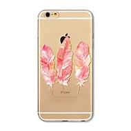 Недорогие Кейсы для iPhone 8-Кейс для Назначение Apple iPhone X iPhone 8 Прозрачный С узором Кейс на заднюю панель  Перья Мягкий ТПУ для iPhone X iPhone 8 Pluss